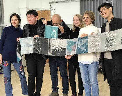 Showing Fabric Designs in Workshop